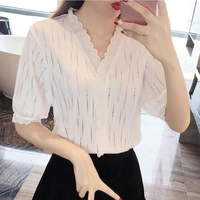 Women Spring Summer Style Chiffon Blouses Shirts Lady Casual Short Lantern Sleeve Blusas Tops DD1620