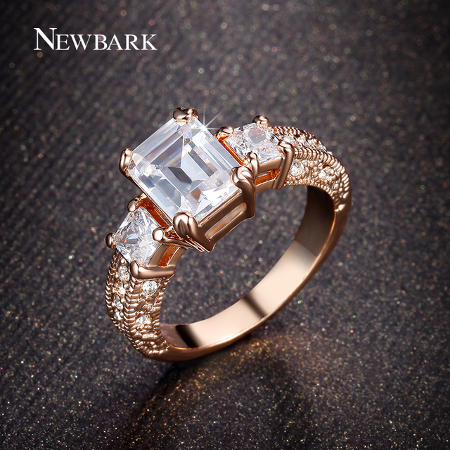 Newbark Rectangle Engagement Ring For Women Exclusive Womens Wedding Band With Clear Aaa Cz Zinc Alloy