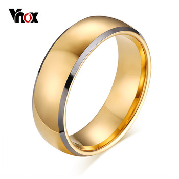 Vnox Stylish Men's 8MM Tungsten Carbide Wedding Bands Ring Gold Tone Anniversary Anel Masculino US Size