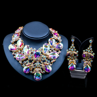 Lan palace parure bijoux femme jewellery set gold color dubai necklace and earrings for wedding six colors free shipping
