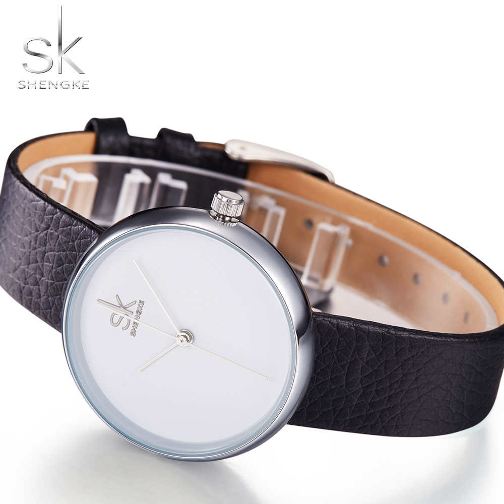 Shengke Fashion Women Watches Female Dress Women Bracelet Watches for women Black Leather Watch Quartz Watch Relogio Feminino SK