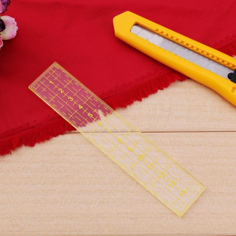 Measuring Tool Quilting Ruler Patchwork Sewing Foot Aligned Grid Cutting Edge Tailor Craft Handmade Quilt Ruler 15*3 Cm