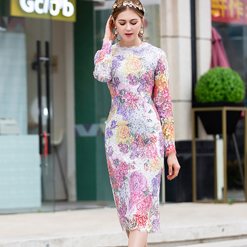 Printemps Mode Femmes Mince Haute Qualité Mignon Longueur Manches Jolie neck O Dentelle 2019 Robe Mi Plein mollet 40wxUqgd4n