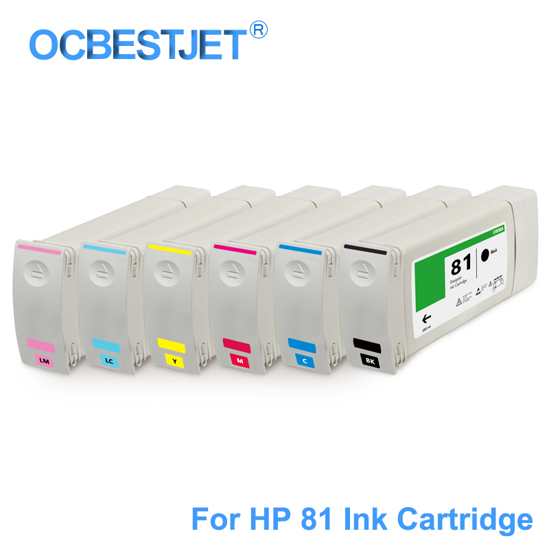 [Third Party Brand] For HP 81 Replacement Ink Cartridge For HP DesignJet 5000 5500 5000ps 5500ps Printer C4930A C4931A 680ML/PC