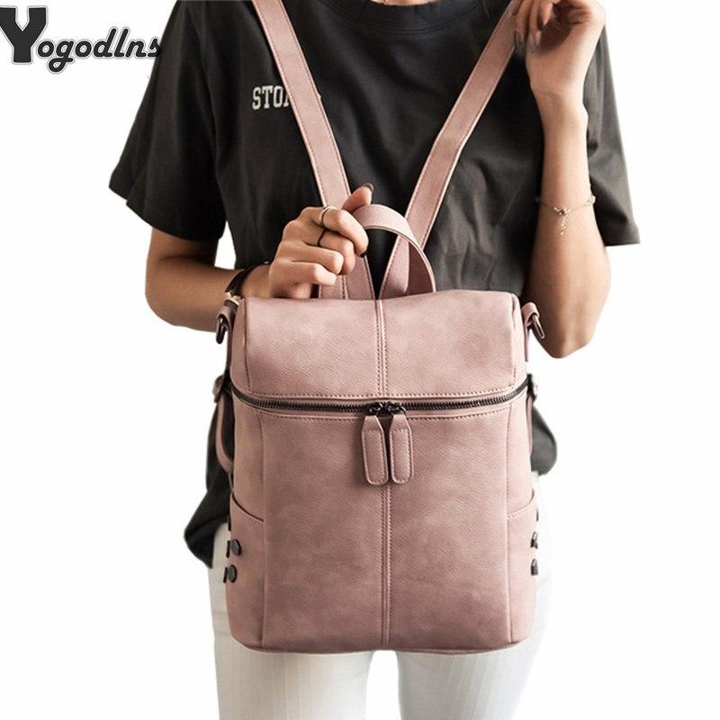 Simple Style Rivet Backpack Women PU Leather Backpacks For Teenage Girls School Bags Fashion Vintage Solid Black Shoulder Bag