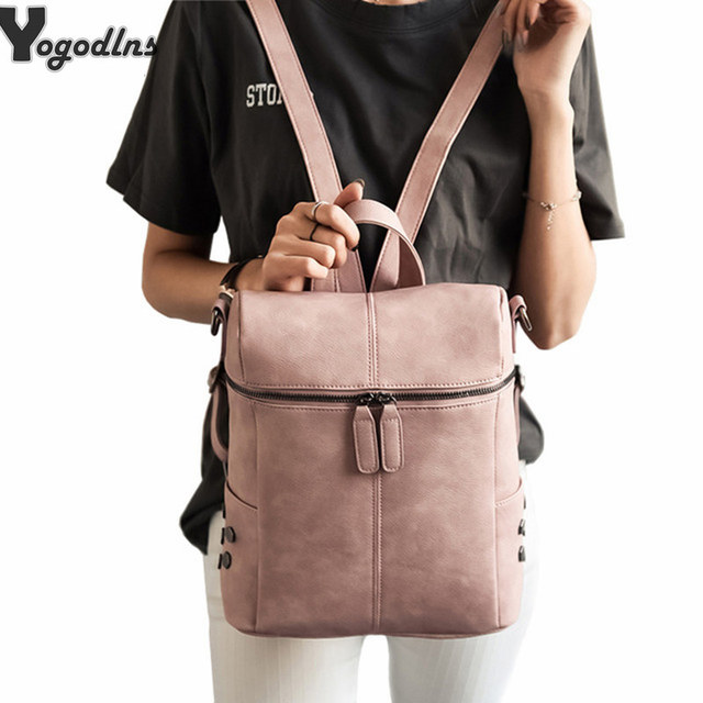 Simple Style Rivet Backpack Women PU Leather Backpacks For Teenage Girls School Bags Fashion Vintage Solid Black Shoulder Bag