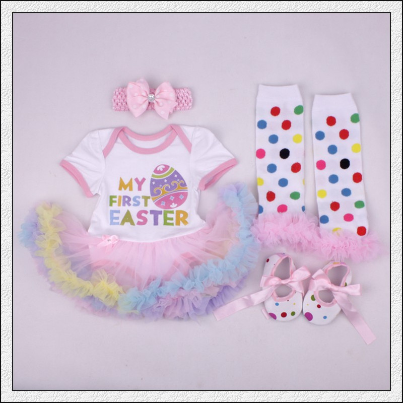4PCS My 1st Easter Newborn Baby Girl Clothes Romper Cotton Infant baby Tutu Dress Jumpsuit bebe Clothing Costume Outfits