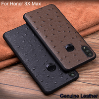 Genuine Leather Half pack phone case For Huawei Honor 8X Max Ostrich Pattern Cases For Huawei Honor 8 X Max Protection Shell