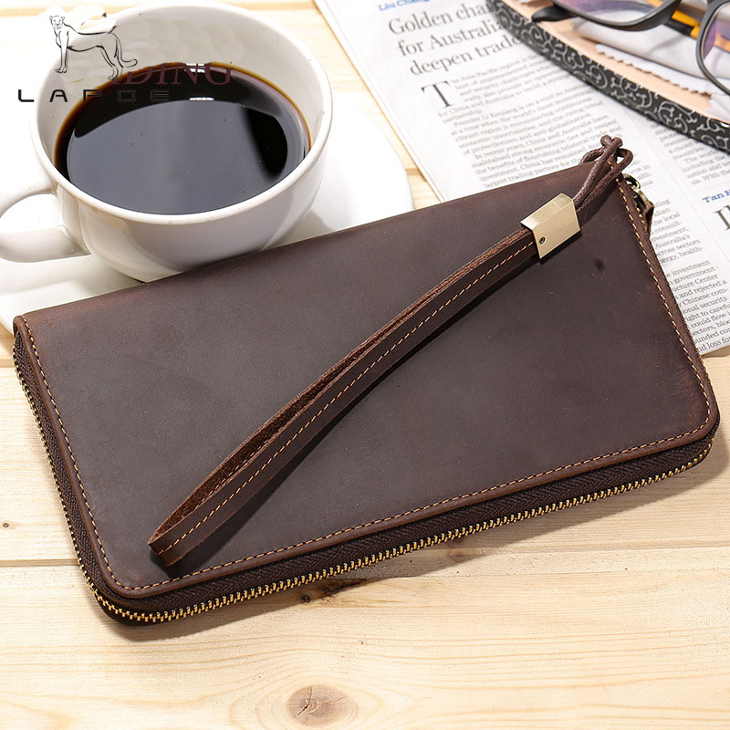 LAPOE Men Wallets with Wristlet Genuine Leather Clutch Purse Long Wallet Large Capacity Zipper Purse Valentine's Day Gift