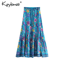 Boho Vintage Bird Floral Print Pleated Long Skirt Women 2019 Fashion High Elasti