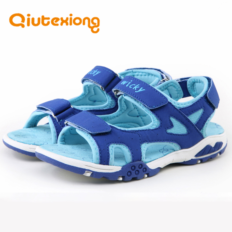 QIUTEXIONG Summer Beach Boys Sandals For Kids Shoes Children Sandals Breathable Cut-outs Flat Leather School sandalia infantil