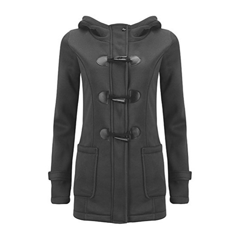 Women 2019 New Fashion Wool Jacket Lapel Hooded Long Sleeved Coat Solid Color Horn Button Cotton Jacket Female Parker Outerwear in Jackets from Women 39 s Clothing