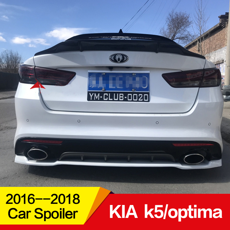 Use for KIA k5/optima spoiler 2016 2017 2018 year glossy carbon fiber/FRP rear wing R style spoiler accessories image