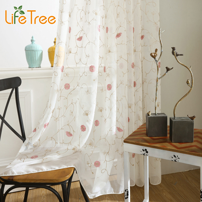 Floral Pink Embroidered Voile font b Curtains b font for Living Room Princess Tulle In Girl