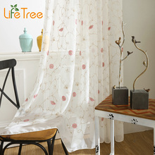 Floral Pink Embroidered Voile Curtains for Living Room Princess Tulle In Girl's Bedroom Modern Rideaux Linen Sheer Custom Made