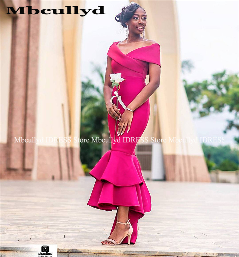 Fuchsia Mermaid Bridesmaid Dresses 2019 Sexy Off Shoulder African Women Formal Party Dress Hi-Low Satin Wedding Guest Gowns