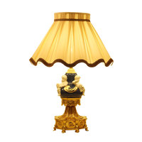 Europe Artwork table lamps copper art collection light desk bedside decoration lighting cloth lampshade study reading lighting