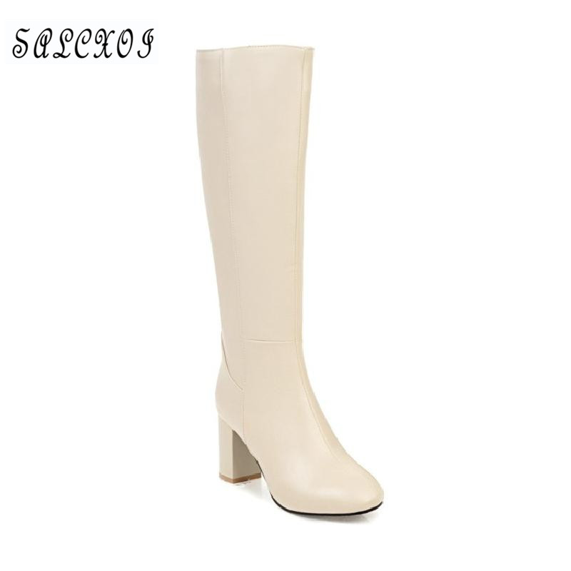 SALCXOI 2017 autumn winter boots women high heel Beige brown big size round toe zip female knee high boots free shipping &7575 adamex avila 27p brown beige