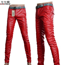 6 Colors Leather Trousers Men 2017 Mens Pants Leather Fashion High Quality Skinny Motorcycle Mens Faux Leather Pants