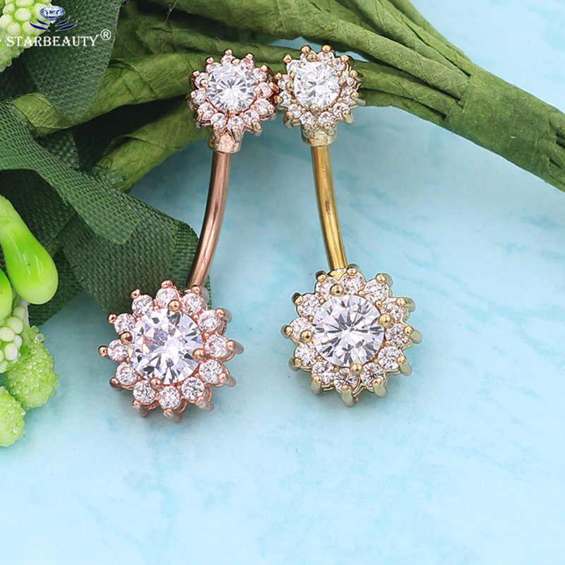 1Pc ดอกไม้ Dangle แหวน Belly แหวน Body Piercing Navel Bar 14G Full ดอกไม้รูปร่าง body piercing bar body Bar