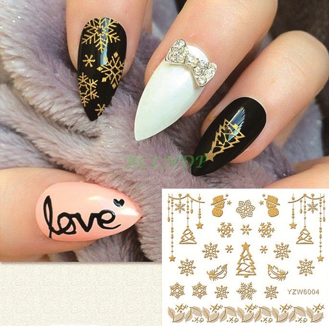 Gold Sticker For Nail Art All Decoration Slider Merry Christmas