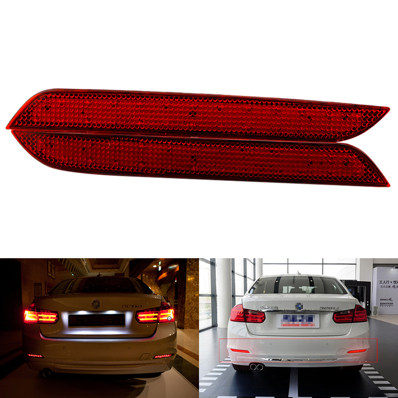 Car LED Rear Bumper Reflector Red Parking Warning Stop Brake Lights Tail Lamp For 2011-15 BMW F30 F31 F35 3-Series 320i/320Li new auto parts for bmw 5 series x3 f10 f18 stop switch handbrake switch automatic start and stop parking brake