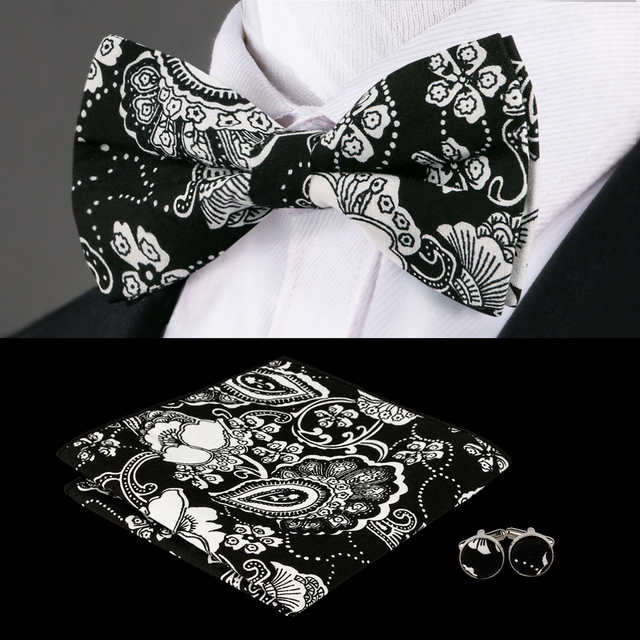 fafcd480df53 F-610 Hi-Tie New Black White Floral Bow Tie Pocket Square Cufflinks Fashion  Cotton Christmas Bow Ties For Men Suit Bowtie Set