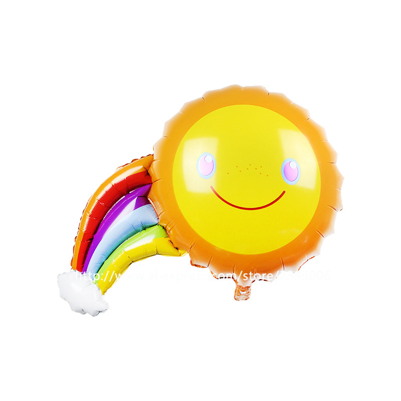 5pcs/lot HAPPY BIRTHDAY Balloons Smile Rainbow Foil Balloons Kids Birthday Party Decorations Supplies