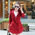 2017 Limited Trench Coat For Women Women Trench Coat Medium Elegant Hooded Outwear Slim Waist Dot Print Ol Causal Windbreaker