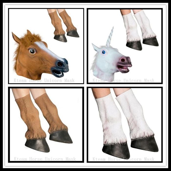 Halloween rekvizity Dospělý koně hlavy Masky a koně kopyta Rukavice Zvíře Latex Jednorožec Maska Narozeninový večírek Gumové koně Maska rukavice