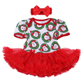 Christmas Gift 2016 Newborn Baby Cotton Romper Dress 2pcs Set Infant Girl Jumpsuit Clothes Red Santa Claus 1st Birthday Clothing