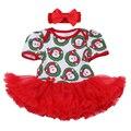 Regalo de navidad 2016 Algodón Recién Nacido Conjunto Infantil de La Muchacha Del Vestido Del Mameluco 2 unids Ropa Mono Rojo de Santa Claus primero Cumpleaños ropa