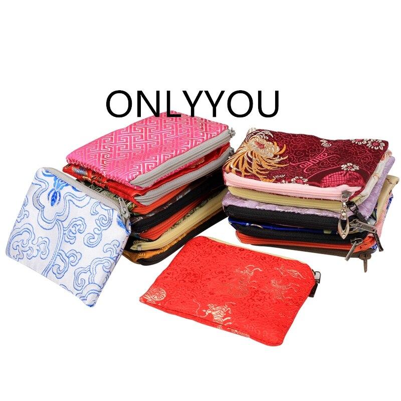 6d14879507713 ▽يتوهم صغير الصينية الحرير الديباج حقيبة بسحاب مجوهرات الحقيبة هدية ...