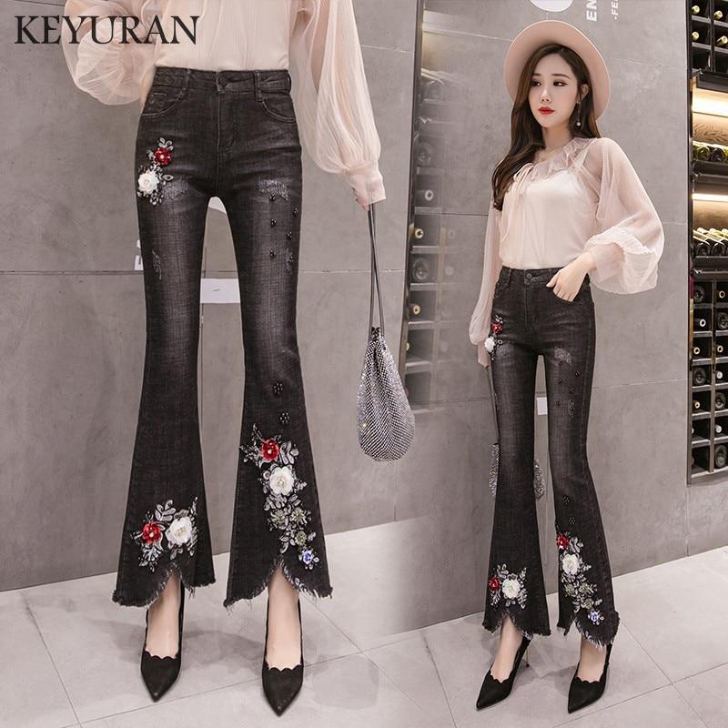 Vintage Beading Embroidery Burr Flare   jeans   New Arrival Women Denim Pants High Waist Boot Cut   Jeans   Retro Flares Wide Leg   jeans