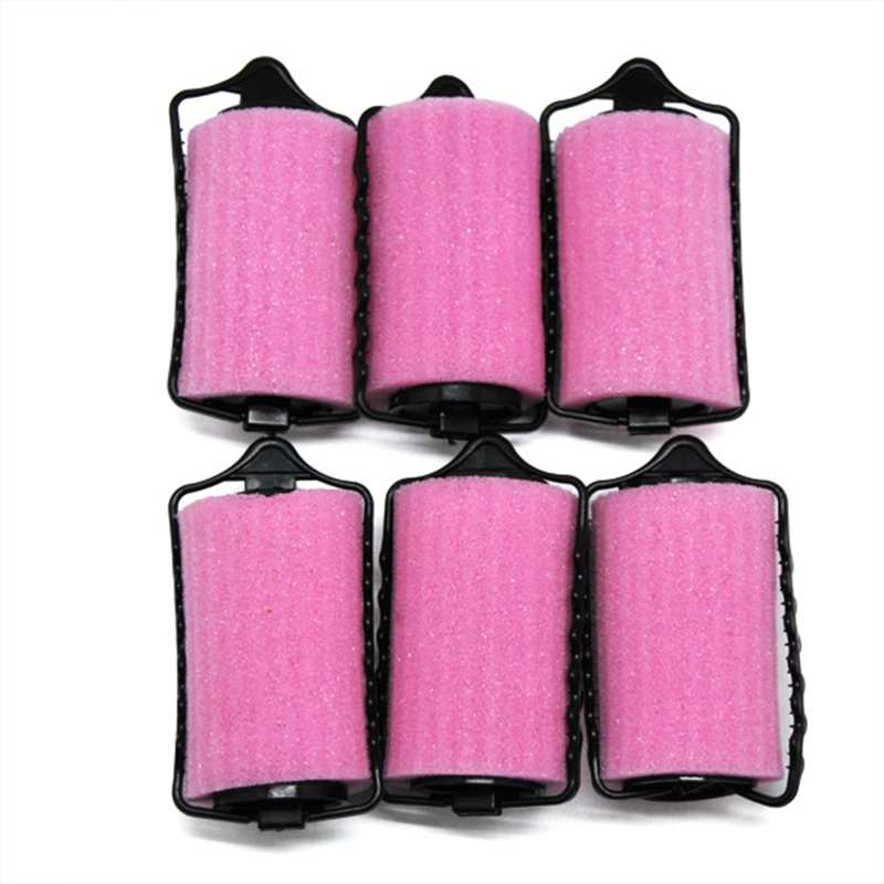 Pink Sponge Roller Black Plastic DIY Hair Styling Tool Foam Curler for Women Hairwear
