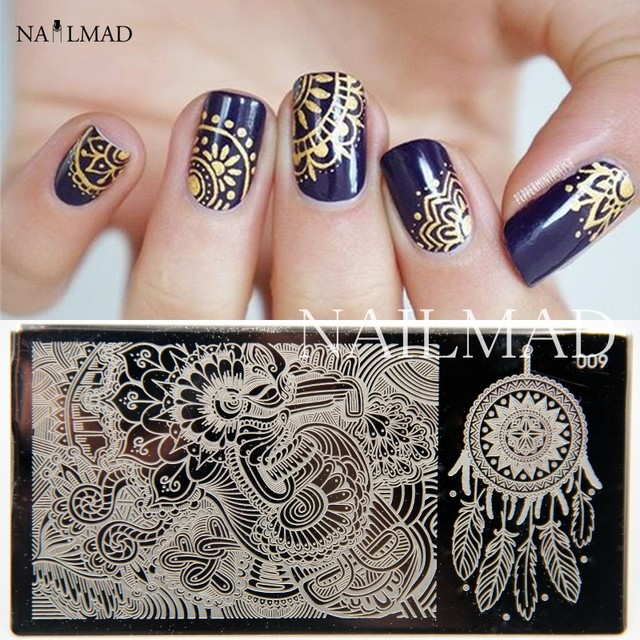 1pc Feather Nail Art Stamp Plate Mandala Stamping Image Plate Damask ...