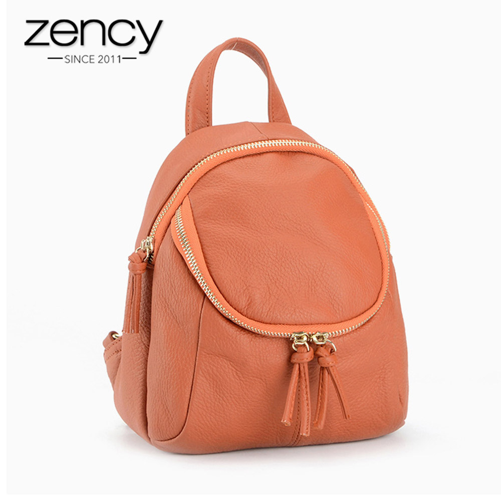 Zency Famous Brand 100% Genuine Leather Small Women Backpack Vintage School Book Bags for Girls Knapsack Mochila Mujer Feminina brand vintage women bagpack beetle shape cool split leather backpack teenager school bag knapsack cowhide mochila feminina