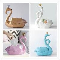 Nordic Geometry 3D Flamingo Tissue Box Creative Taper Box napkin carton living room simple desktop receiving box Swan ornaments