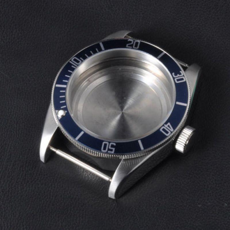 41mm saphir verre aluminium bleu lunette pièces de montre boîte en acier inoxydable cadran convenable ETA 2824 2836 ou miborough 82 série
