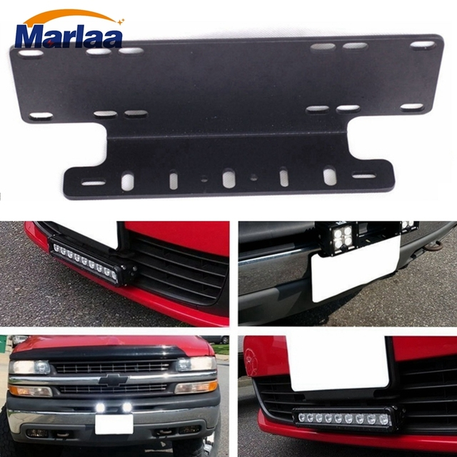 Marlaa 1pc heavy duty front bumper license plate mount bracket marlaa 1pc heavy duty front bumper license plate mount bracket holder for led light bar aloadofball Image collections