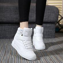 Новый 2017 весна осень ботильоны каблуки обуви женщины повседневная обувь высота увеличение высокий верх обувь смешанные цвета Зимние сапоги