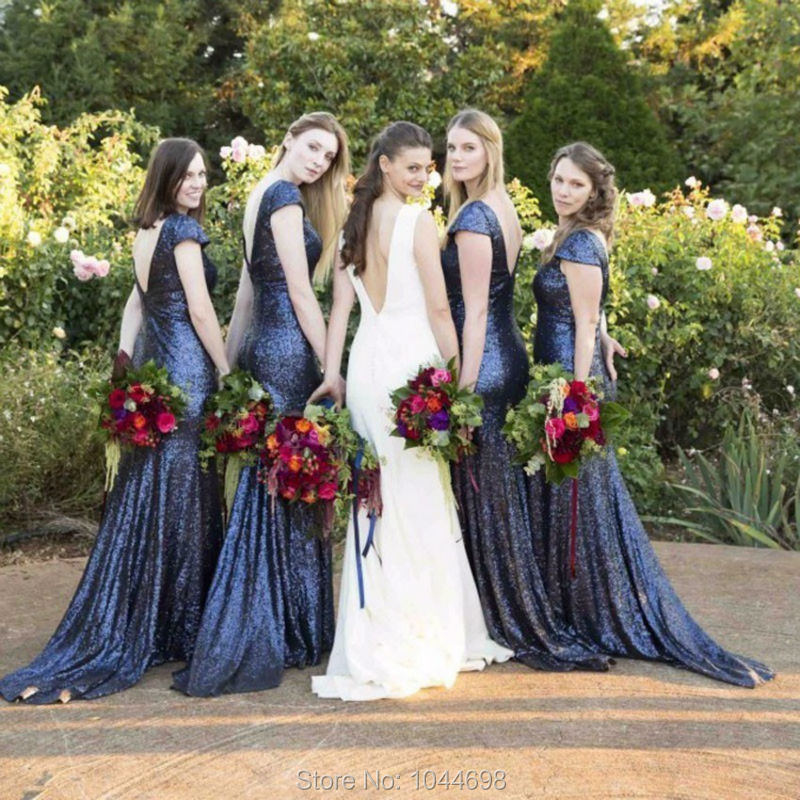 Navy Blue Sequin Bridesmaid Dress 2017 Brautjungfernkleid Sexy High Neck  Elegant Cap Sleeve Brides Maid Dresses-in Bridesmaid Dresses from Weddings    Events ... 0c701bcc81e0