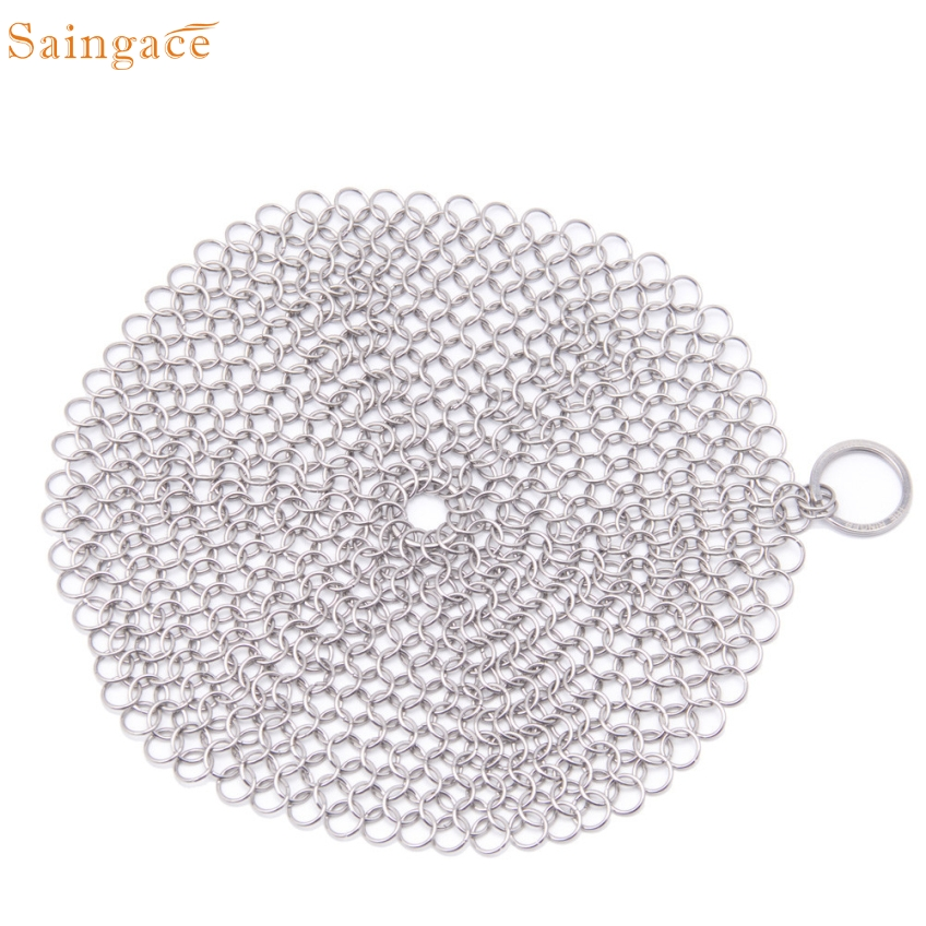 Saingace 7 x 7 Finger Iron Cleaner Stainless Steel Chainmail Scrubber Gifts High Quality
