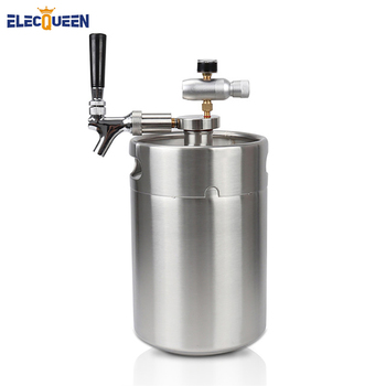 5L Mini Keg Beer Growler with Tap Faucet with CO2 Injector Premium Homebrewing