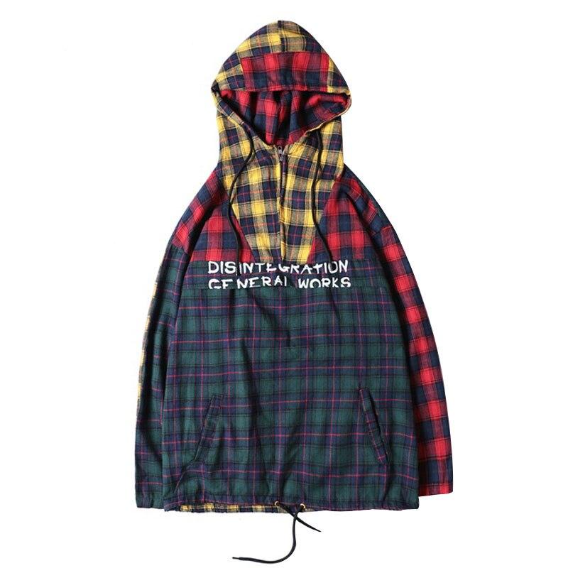 Plaid Patchwork Pullover Skateboard Streetwear Hoodies Men Sweatshirts Brand Long Sleeves Male Sweatshirt Hip Hop Janpese Style