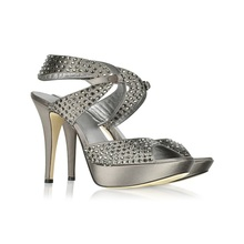 Women Shallow Peep Toe Sandals Thin High Heels Rivets Decorated With Back Strap Platform Size 3 CM Summer Party Shoes