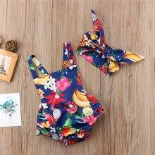 Одежда для новорожденных и маленьких девочек; боди без рукавов с квадратным воротником и цветочным принтом с открытой спиной; повязка на голову с бантом; комплект из 2 предметов; хлопковая детская одежда