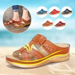 Nữ Mùa Hè Mở Ngón Chân Thoải Mái Giày Sandal Siêu Mềm Mại Cao Cấp Chỉnh Hình Giày Gót Thấp Đi Bộ Giày Sandal Thả Vận Chuyển