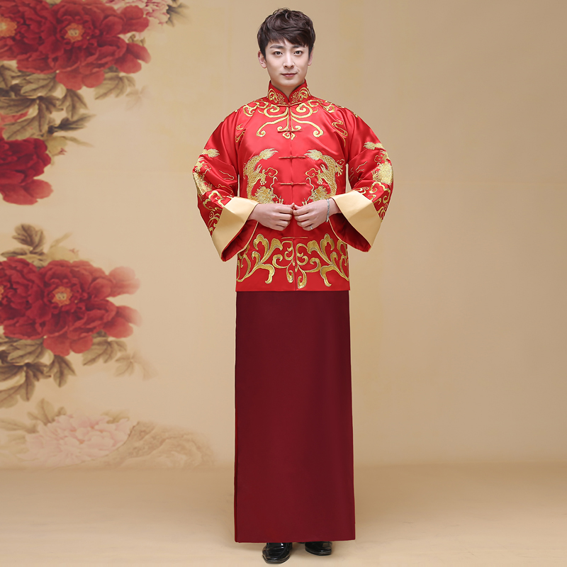 Chinese style bridegroom wedding gown robe show clothing male pratensis dragon gown tang suit costume embroidered Double Dragon