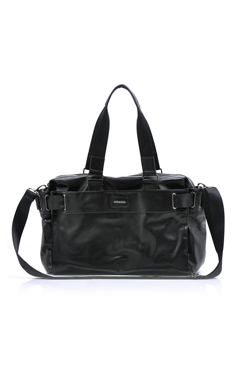 Men'S Travel Bags PU Leather Luxury Style Men'S Messenger Bag Large Capacity Men Bags-black